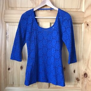 UO Pins & Needles stretch lace scoop neck top Sz M